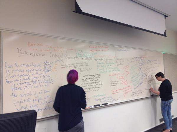 The list of ideas on the whiteboard grows as participants continue adding ideas on social justice practices for digital humanities.