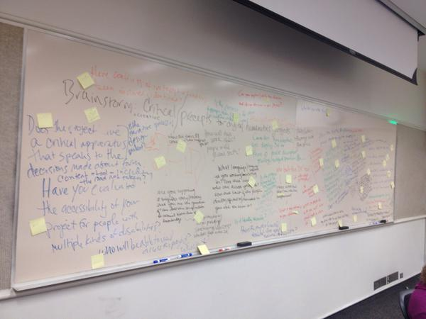 Post-it notes indicate thematic groupings for ideas on social justice digital humanities.