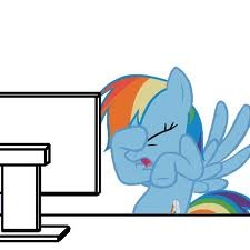 An image of Rainbow Dash from My Little Pony angry at her difficulty using a computer.