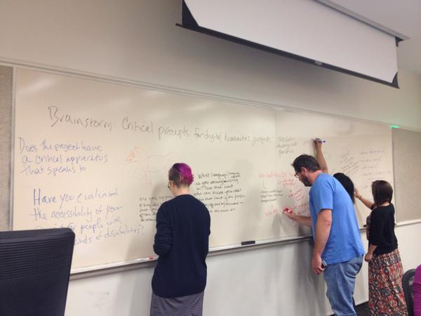 Participants at HILT 2015 brainstorm ideas for best practices in digital humanities on a whiteboard.