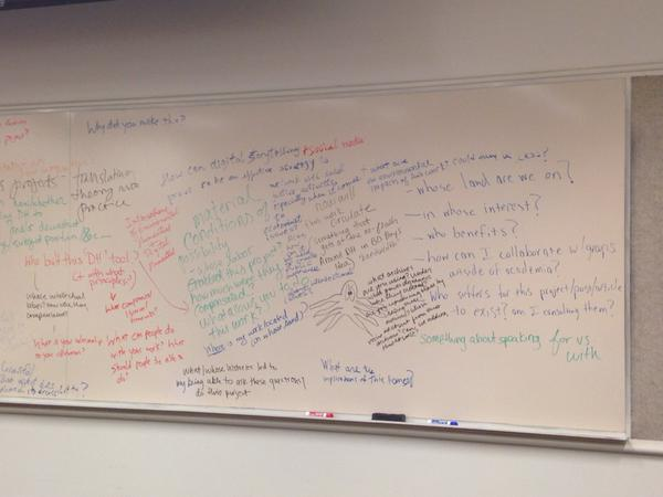 The whiteboard is covered in ideas for social justice digital humanities praxis.